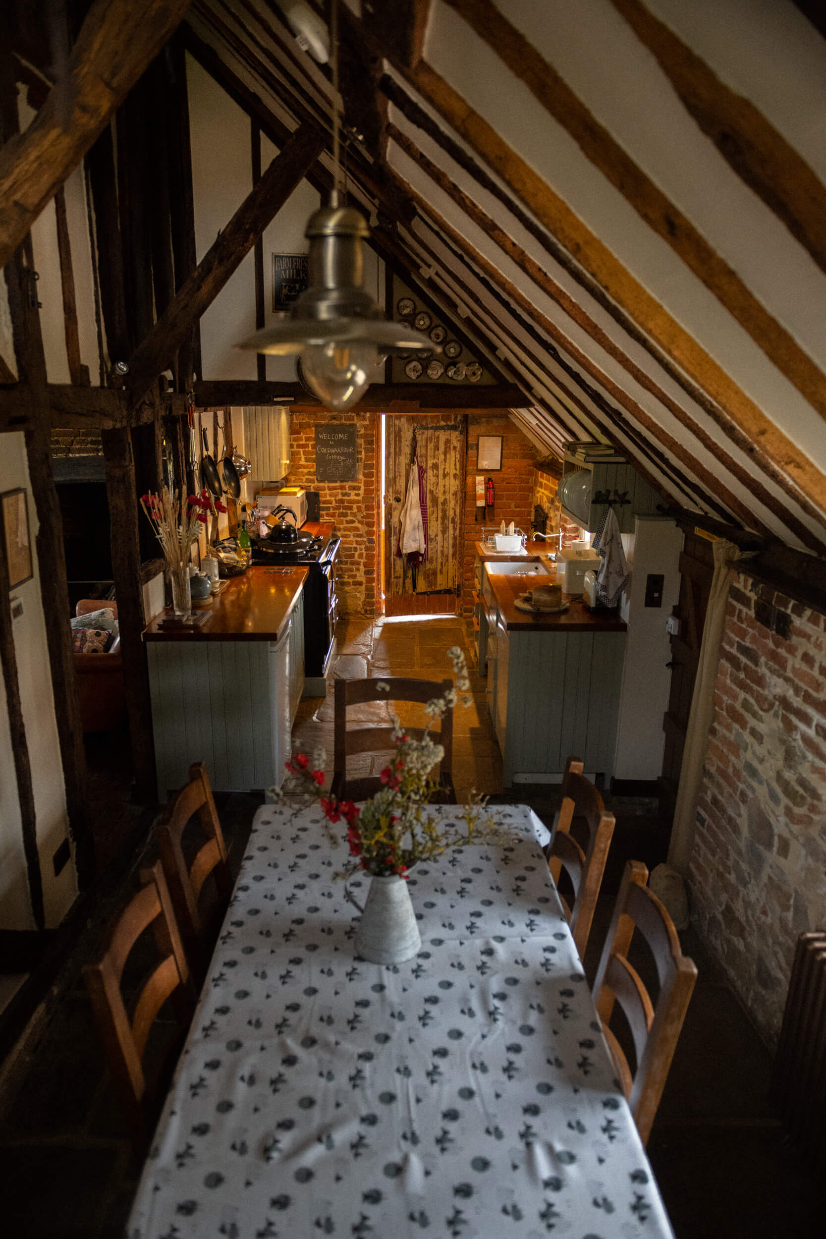 Looking down on the cottage kitchen
