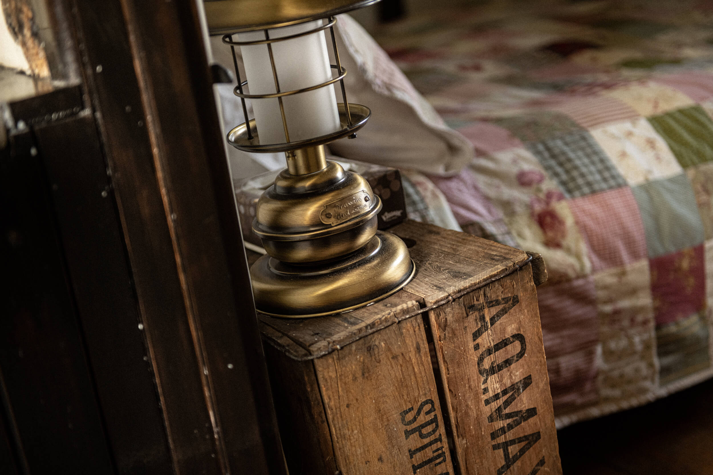 Close up of a lamp on side table