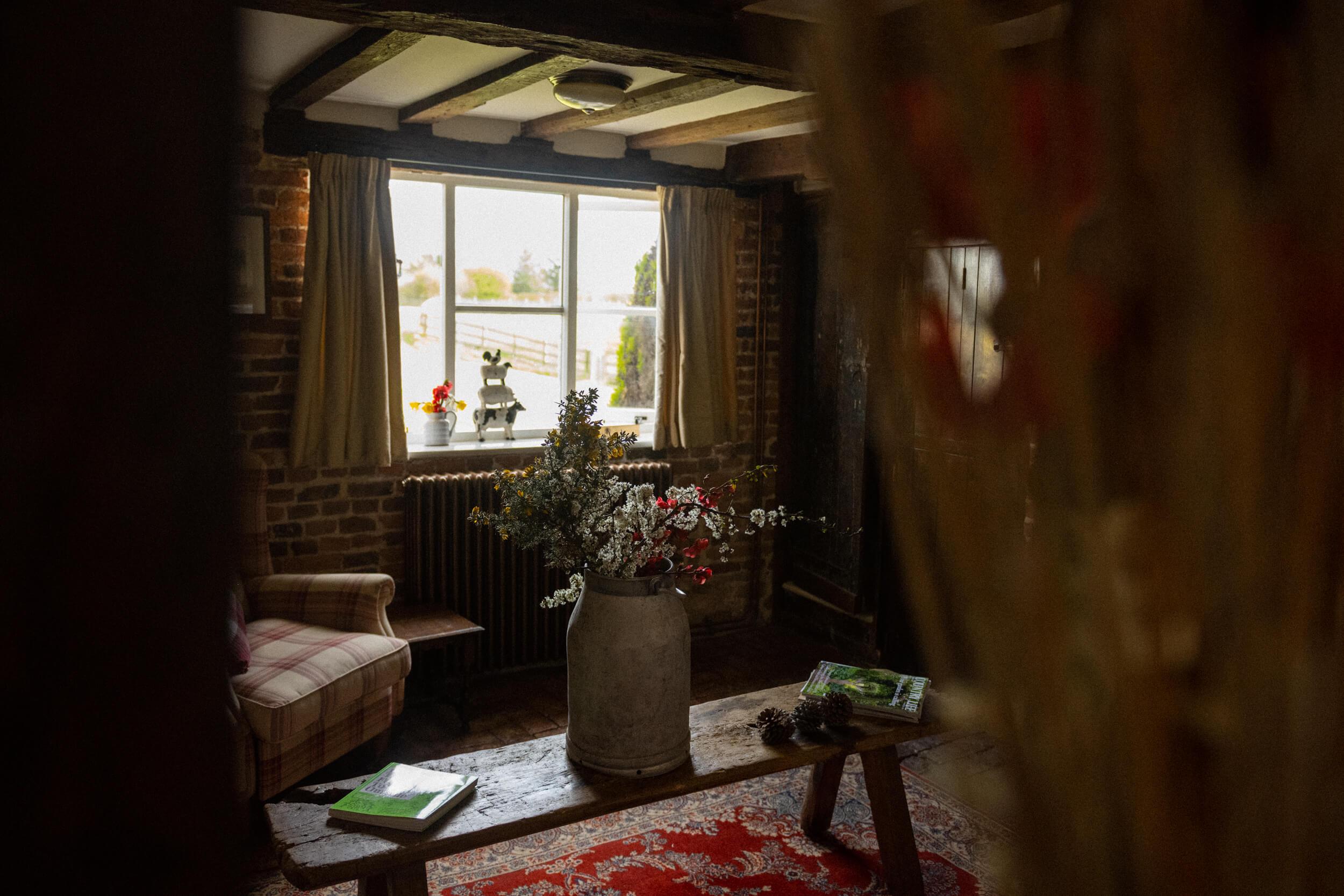Through the door of the living room