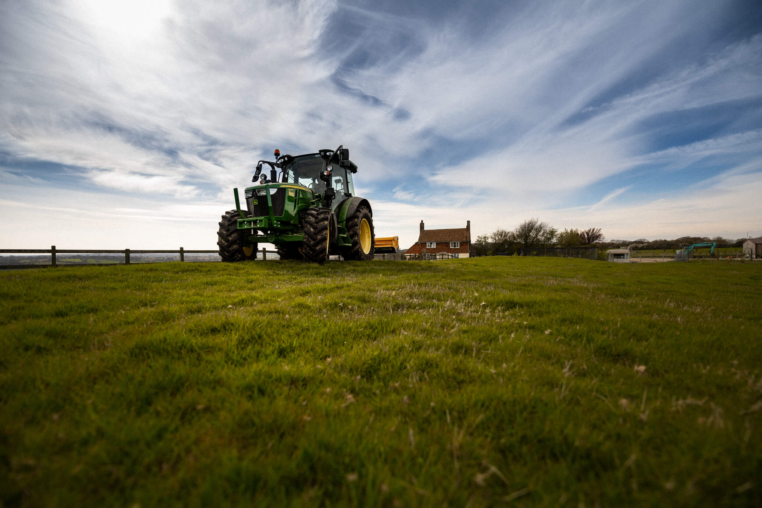 Tractor in the field at Coldharbour