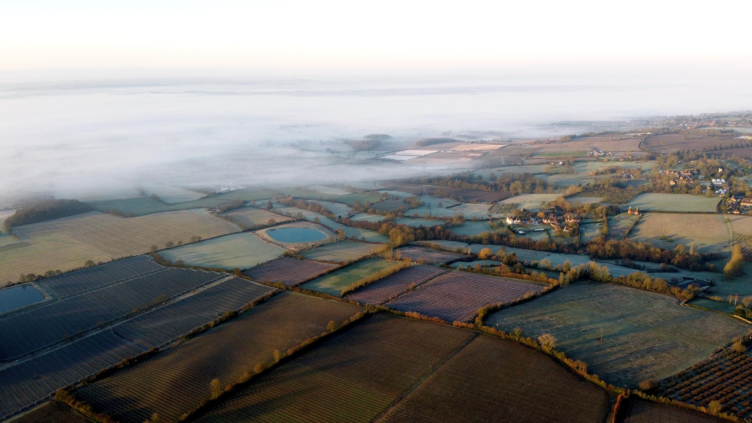 Drone shot of Kent countryside