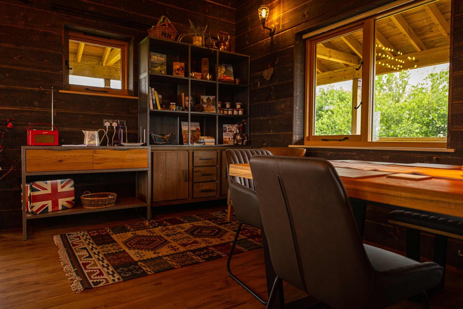Inside view of Coldhabour Log Cabin